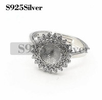 Pearl Settings Semi Mount Findings 925 Sterling Silver Cubic...