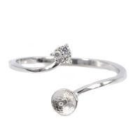 10 шт. / лот Оптовая стерлингового серебра 925 обручальное кольцо 6-10 мм круглый шарик жемчуг полу крепление кольцо для женщин установка