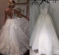 2019 Sexy Bling Sequined A Line Wedding Dresses Deep V Neck ...
