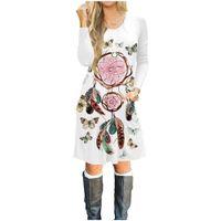 Kadın uzun kollu elbise% 100% pamuk 3D baskılı elbise kız moda sıcak T-shirt etek kadın giyim tasarımcısı kazak Kelebek desen