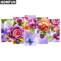 HOMFUN 5 pz Full Square / Round Drill 5D Pittura Diamante DIY