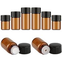 Botella vacía de la botella de cristal ambarina de 1ml / 2ml / 3ml para las botellas de espray del perfume del aceite esencial Botellas de almacenamiento líquidas del maquillaje Contenedores de Brown oscuro