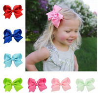4 Inch Fashion Children' s Ribbon Bow Hairpin Clips Girl...