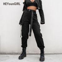 HEYounGIRL Streetwear Carga Calças Mulheres Corredores Casuais Preto de Cintura Alta Soltas Calças Femininas Calças Das Senhoras do Estilo coreano Capri C18111201