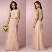 2017 Vintage Blush Pink Two Pieces Lace Bridesmaid Dresses S...
