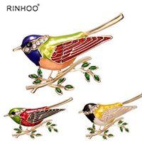 Горный хрусталь красочные эмаль Иволга птица филиал брошь булавки мужские женские сплава птица броши для костюмы платье банкет брошь подарок