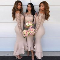 Elegant Mermaid Bridesmaid Dresses Off The Shoulder Long Sle...