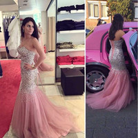 2019 luxe sirène robes de soirée chérie cristal paillettes perlée Tulle longueur de plancher en satin Plus la taille peau rose robes de bal Pageant robe