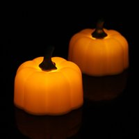 12 Unids / set Mini LED Naranja Calabaza Velas de Halloween Buena Calidad Flicker Para Halloween Party Home Decoraciones QW8150