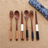 Japanese Style 3 pcs set Wooden flatware Environment Cutlery...