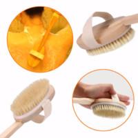Jabalí de cerdas Cepillo de madera Mango largo Masajeador Ducha de baño Volver Spa Cepillo corporal Piel Cepillo de baño Baño Productos