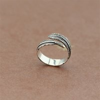 Unique Silver Adjustable Resizable Feathers Rings For Men Gr...