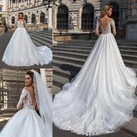 2019 Cascading Ruffles pleine dentelle robes de mariage Une ligne de cou avec Sheer Applique Robe de mariée 3/4 église manches train Robes de mariée