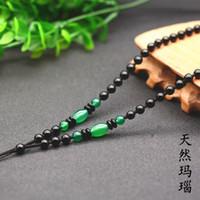 Top grade tout collier de perles Obsidian pendentif longe à la main tricoté agate pendentif pendentif jade corde
