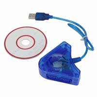 Джойстик геймпад игры USB двойной плеер конвертер адаптер кабель для PS2 для ПК USB игровой контроллер DHL FEDEX EMS бесплатная доставка