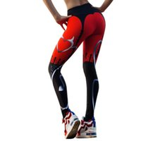 2018 New Sexy Heart Print Leggings Women Red Black Patchwork...
