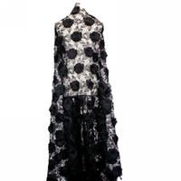 3D вышитый текстиль для платьев с пайетками 5yds./ ткань 120cm парчи жаккарда черноты CAF466 ткани шнурка цвета самая дешевая водоустойчивая