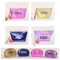 14 Styles Pink Makeup Pouches Cosmetic Bag Waterproof PU Las...