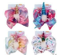 JoJo Bows Grand Arc-En-Licorne Bow-knot Imprimer Grosgrain Ruban Cheveux Arcs Avec Clip Accessoire À Cheveux À La Main Des Enfants