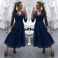 9fc41d423fd4a Wholesale modest mother groom dresses for sale - Group buy Modest Dark Navy  Lace Mother of