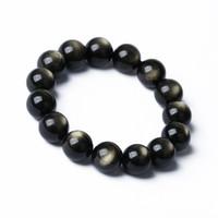 Obsidiana natural Pulsera de obsidiana negra Rociada Pulsera de oro 8-14 mm Perlas redondas Pulsera Envío de la gota
