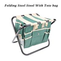 Ensemble d'outils de jardin avec tabouret en acier pliant et outil de toile amovible Sac fourre-tout sac à outils tout-en-un avec poches multiples vert