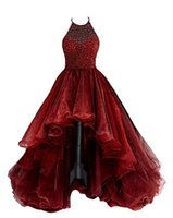 Halter High Low Ball Gown Tulle Dark Red Tiers Sexy Special ...