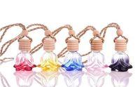 Toptan Parfüm Şişesi 6 ml Gül Şekli Araba Hava Spreyi Dekorasyon Uçucu Yağ Parfüm Boş Şişeler Renkli Asın Halat Pandent Aromathe