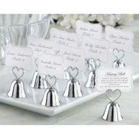 """Hermoso oro y plata besos Bell """"Bell Place Titular de la tarjeta Photo Holder Decoración de la mesa de boda Favors"""