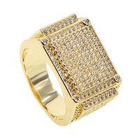 HIP Hop Micro Pave cz Iced Out Bling Square Ring Gold Filled...