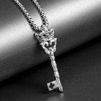 Modeschmuck Familie Schlüsselanhänger Halsketten Edelstahl Design 60 cm Lange Kette Punk Hip Hop Schmuck Halskette für Männer Geschenke