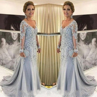 Elegant Mother Of The Bride Dresses V Neck Sheer Long Sleeve...
