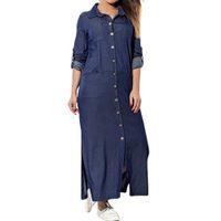 2019 Seksi Streetwear Ön Düğme Uzun Elbise Gevşek Mavi Uzun Kollu Sonbahar Elbiseler Vestidos Feitong Casual Denim Gömlek Elbise Kadınlar