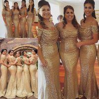 Champagne Gold Sequins Bridesmaid Платья в стране Стиль с плеча Пляж Junior Свадьба Гостевой Платье Подружки Подвесные Дорожные Дорожные платья