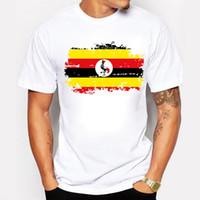 우간다 국기 인쇄 티셔츠 남자 패션 반팔 티셔츠 우간다 국기 여름 남성 탑스 티셔츠