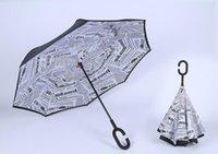 En Sıcak Benzersiz Tasarım C-El Katmanlı Ters Rüzgar Geçirmez Ters Şemsiye Sunny Yağmurlu Günler için Katlanır Karşıtı 19 Renkler DHL Nakliye