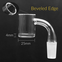 Nuevo borde biselado de cuarzo banger 4mm inferior 25mm OD Quartz Banger Nail Female Male 10mm 14mm para dab rig glass glass pipe bong