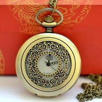Wholesale 50pcs lot Pendant Chain Quartz Bronze Watch Hollow...