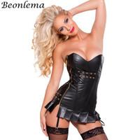 Beonlema فو الجلود الصدار steampunk المخصر جنسي بوستير overbust الخصر مشد خمر مثير الملابس القوطية الأسود كورس اللباس