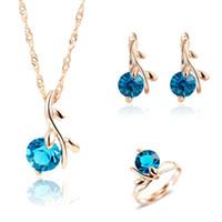 Mode Halskette Ohrringe Ring Hochzeit Brautschmuck Sets für Frauen Blue African Kristall Perlen Hochzeit Schmuck-Set