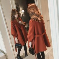 Winter new Korean long section of loose lantern sleeve woole...