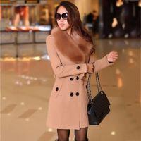 New Womens hiver laine long manteau veste chaude Parkas manteau en fausse fourrure Outwear polaire pardessus plus la taille taille réglable veste