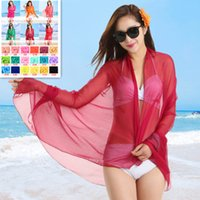 New Solid Color Sunscreen Scarf Lady Fashion Long Color Grad...