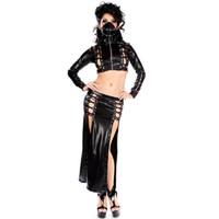 Gotik Seksi Bayanlar Wetlook Faux Deri Toksik Uzun Dantel-up Clubwear Kokteyl Gece Elbise Vinil Set Seksi Sahne Kostüm