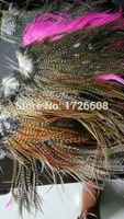 10st toppkvalitet hårstycke 14 färger tillgängliga bunt tunna grizzly rooster fjäder hårförlängningar mode hår tillbehör