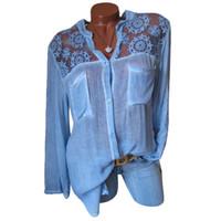 Womens Bluse Lässige Langarm Patchwork Spitze V-Ausschnitt Baggy Baumwolle Leinen Taschen Shirt Damen Tops