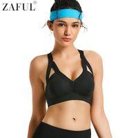 70c2ce26b6 ZAFUL Fitness Yoga Push Up Sport Bras Women Gym Running Padded Tank Top  Athletic Vest Patchwork Workout Plus Size Yoga Bras