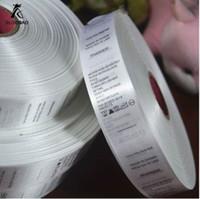Gratis frakt Partihandel (1000 stycken / parti) Anpassad plagg Satin Tryckt CARE Label Storlek Etiketter med varumärke / logo