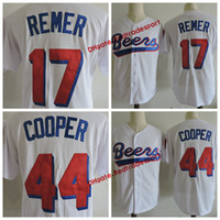 BASEQUE DAS CERVEJAS Mens JERSEY MOVIE 44 JOE COOPER COOPER 17 REMEDOR DE CAMISETAS de Beisebol DOUG REMERTO Camisas Costuradas