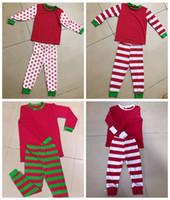 INS Navidad Navidad Nuevo Dot Strip Familia Pijamas Pijs Sets Papá Mamá Niños Rojas Rayas Rayas Ropa de dormir Ropa de dormir Tops Tops Trajes Pantalones